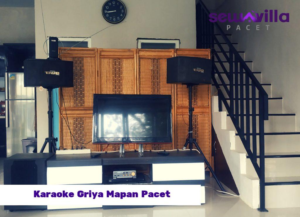 sound home teater dan televisi led di villa griya mapan pacet