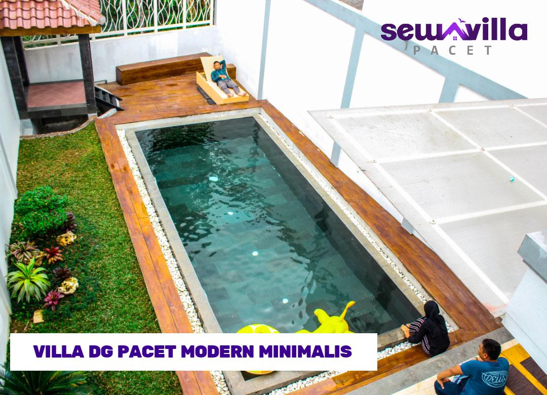 kolam renang dengan taman minimalis villa dg pacet