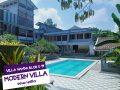 kolam renang pribadi dengan taman bunga disekelilingnya villa vanda blok u 19 trawas