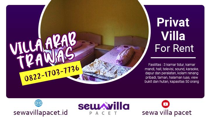 kamar tidur villa arab trawas tampak bersih