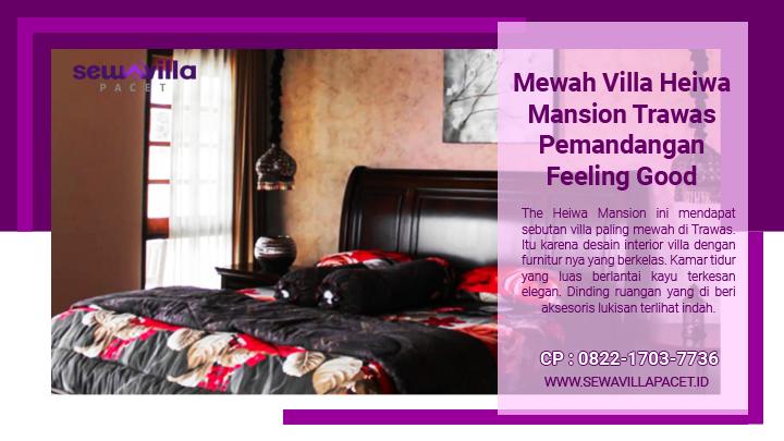 kamar tidur bersih dengan aksesoris yang menarik di villa heiwa mansion trawas