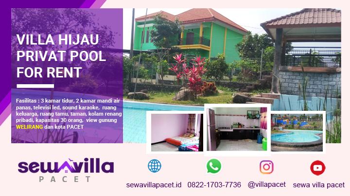 villa hijau pacet lengkap dengan fasilitas kolam renang pribadi dan taman