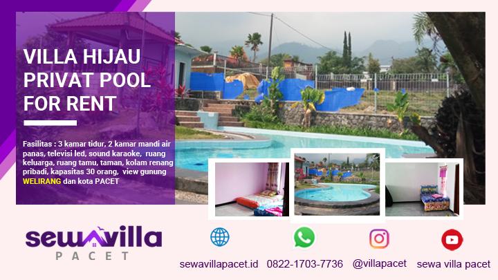 kolam renang cukup luas di villa hijau pacet