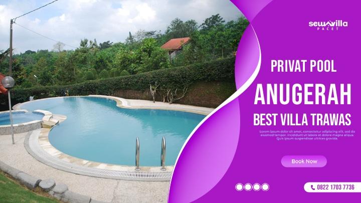 kolam renang villa anugrah trawas menghadap pemandangan yang indah