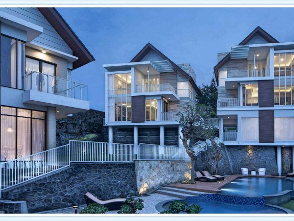 villa azcarya batu type hary modern minimalis kolam renang dengan pemandangan gunung panderman