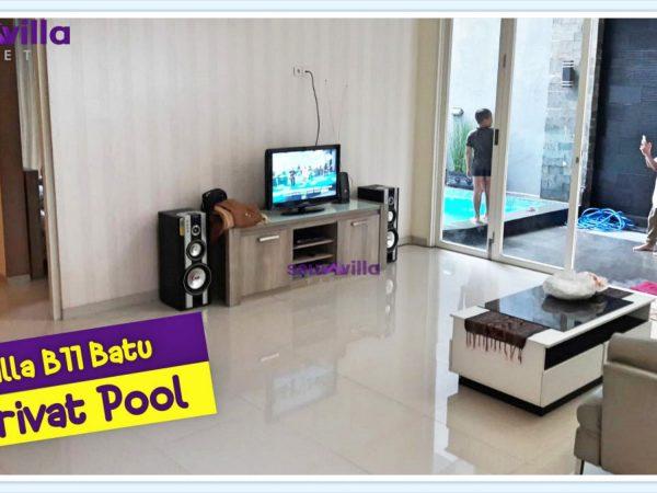 fasilitas lengkap televisi karaoke di villa b11 batu