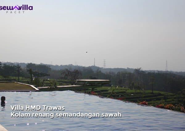 villa hmd trawas kolam renang menghadap sawah