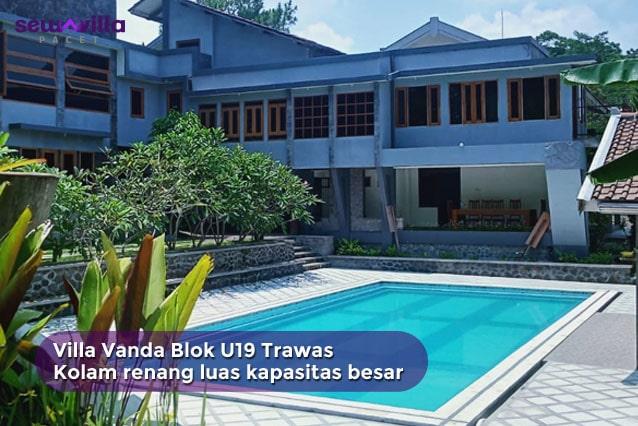 villa vanda blok u 19 trawas kolam renang pribadi luas dikelilingi taman