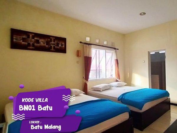 Kamar tidur nyaman villa BN01 Batu